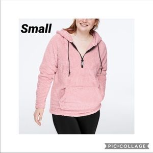 Pink VS Teddy Half Zip Pullover sweater
